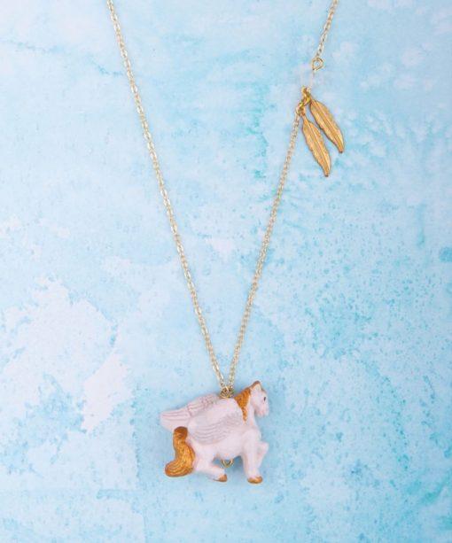 Ceramic Animal Pegasus Necklace