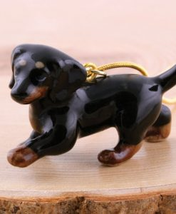 Ceramic Animal Black Dachschund Necklace