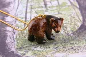 Ceramic Animal Grizzly Bear Necklace