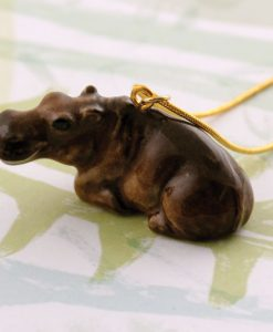 Ceramic Animal Hippo Necklace