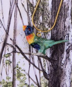 Ceramic Animal Lorikeet Bird Necklace
