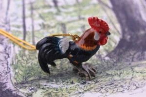 Ceramic Animal Rooster Necklace
