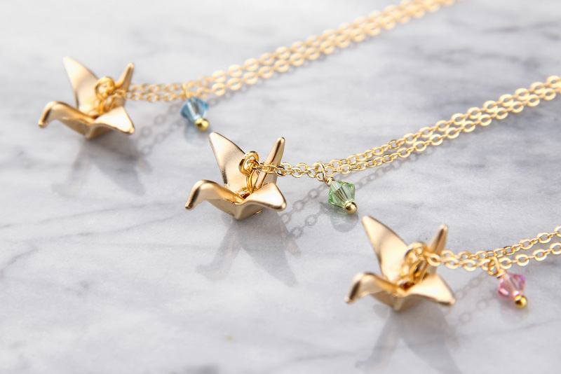 Paper Crane Necklace Baublebible Com